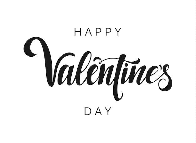 Happy valentines day lettering on white background handwritten design element