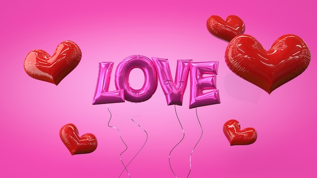 Happy valentines day love helium balloon letters transparent layer