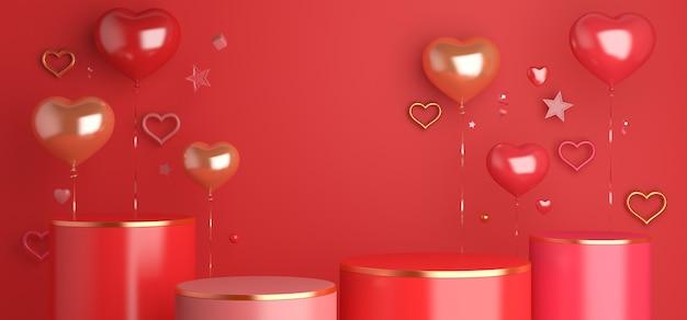 ハート型の風船で幸せなバレンタインデーの表彰台のディスプレイの装飾