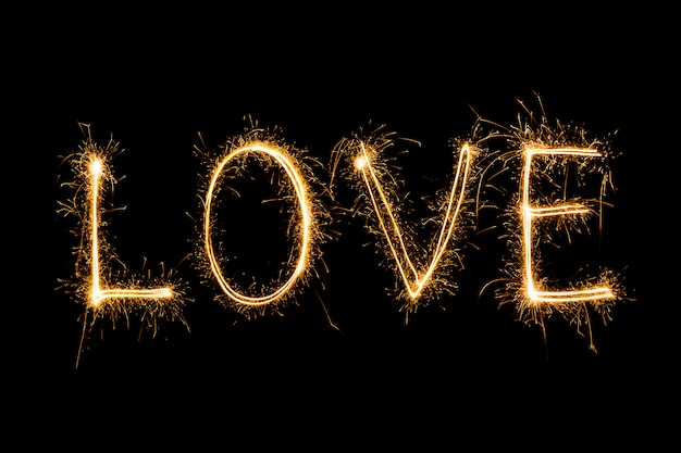 Happy valentines day - sparkler firework light alphabet