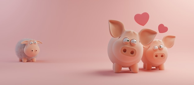 Happy valentines day and weeding design element. pink background. 3d rendering