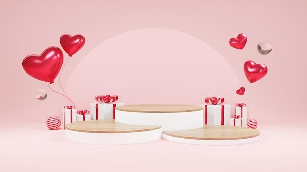해피 발렌타인 데이 장식 선물 상자 깜짝 제품 디스플레이 또는 진열장 받침대
