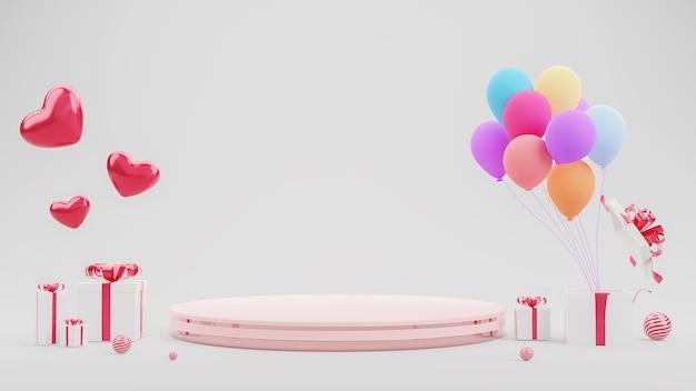 С днем святого валентина украшение с розовым подиумом и подарочными коробками
