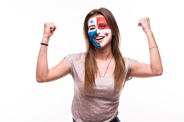 幸せな勝利の悲鳴を上げる女性のファンは、白い背景で隔離の塗られた顔でパナマ代表をサポートします