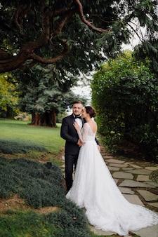 Happy wedding couple in como lake, italy