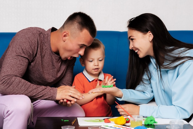 Happy white family enjoy and play at home