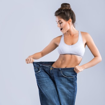 Happy woman after weight-loss