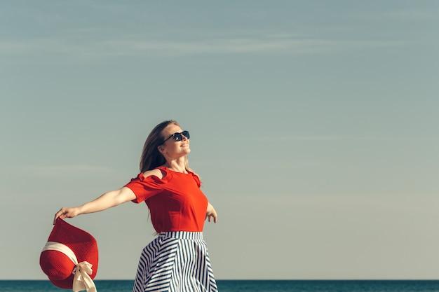 Happy woman at beach