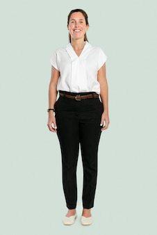 Happy woman in a casual shirt full body