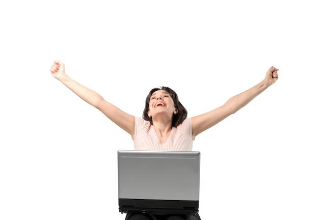 Happy woman cheering