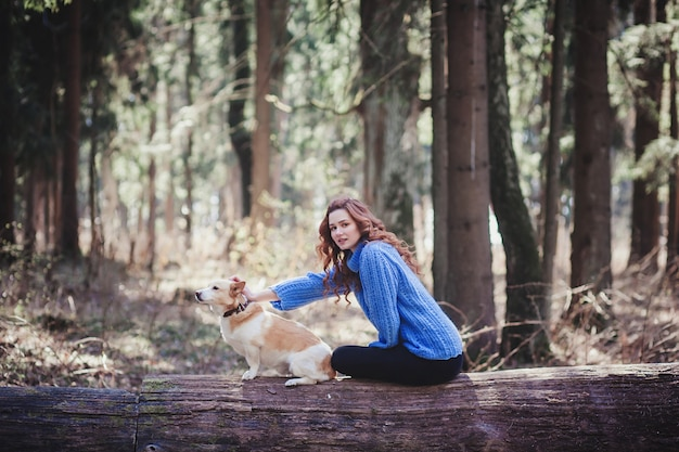 Happy woman and dog