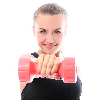 ダンベル体操をやって幸せな女