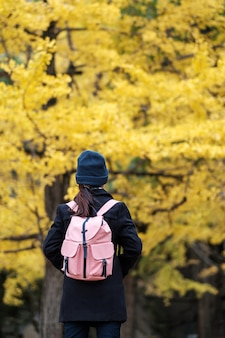 Happy woman enjoy at the park outdoor in autumn season, asian traveler in coat and hat against yellow ginkgo leaves background