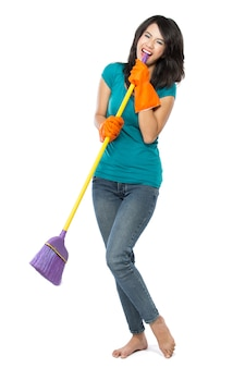 Happy woman excited during cleaning