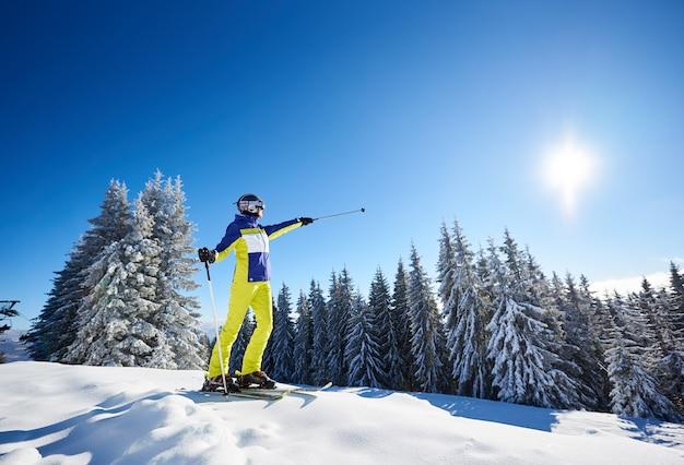 スキーの前にスキーでポーズをとって幸せな女性。スキーリゾートで晴れた日。澄んだ青い空、背景に雪に覆われたモミの木。