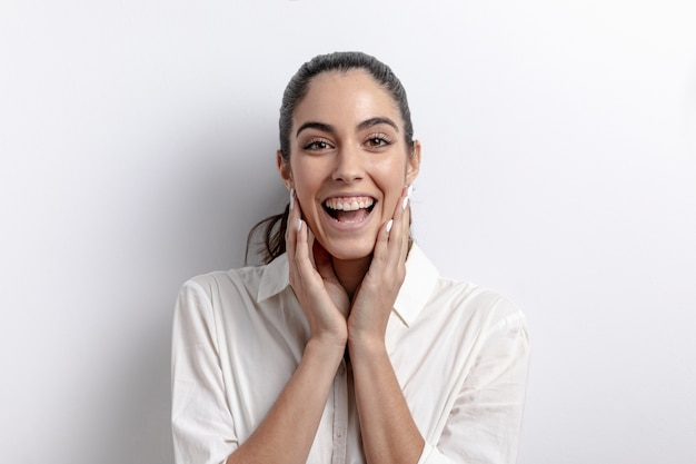 Happy woman posing and smiling