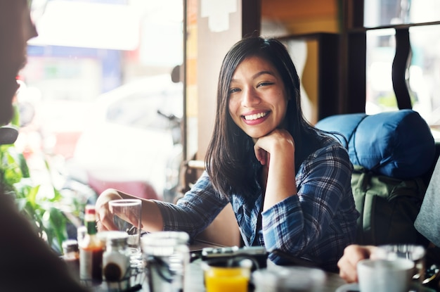 Happy woman at a restaurant