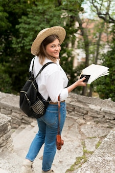 Happy woman traveling concept