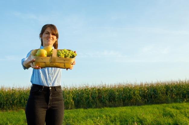 緑のフィールドにリンゴのバスケットを持つ幸せな女性。庭で働いています。収穫の概念