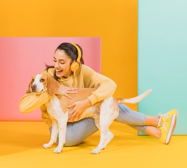 Happy woman with a cute dog