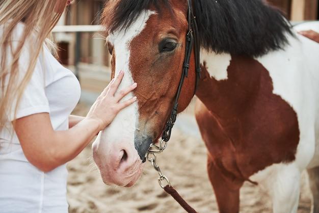 昼間に牧場で彼女の馬と幸せな女性。