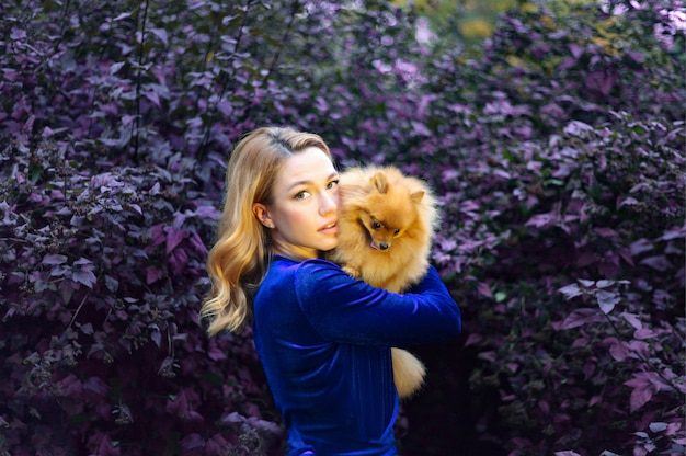 Happy woman with long hair holds small dog beautiful girl hugs dog lady with pomeranian puppy