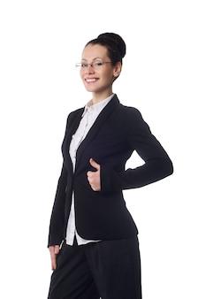 Счастливая женщина с большими пальцами руки вверх, изолированные на белом фоне