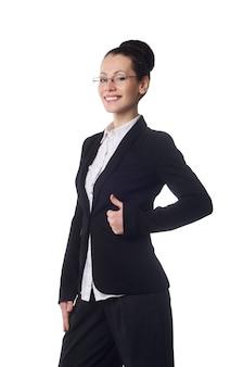 Happy woman with thumbs up isolated over white