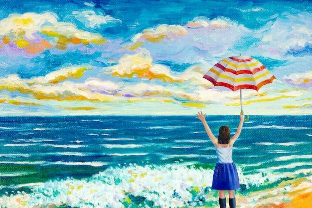 ビーチで幸せな女性のカラフルな油絵。