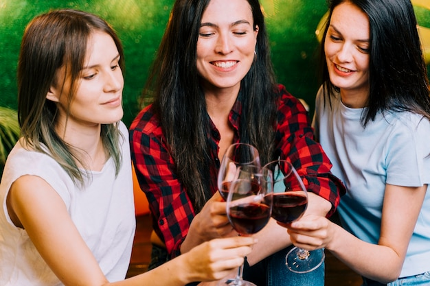 Happy women toasting wine at party