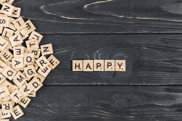 Happy word on wooden background
