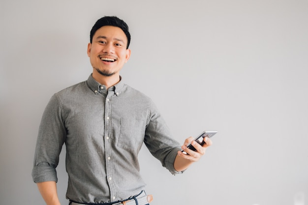 Happy and wow face of asian man
