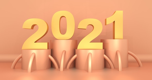 Поздравительная открытка с тисом 2021 года с абстрактным дизайном