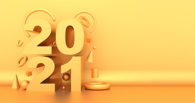 Happy yew year 2021 greeting card with golden, abstract shapes