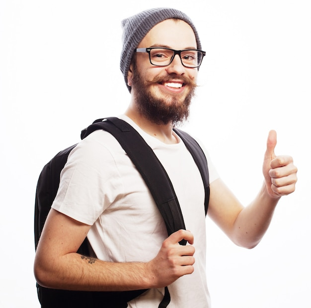 Happy young bearded man