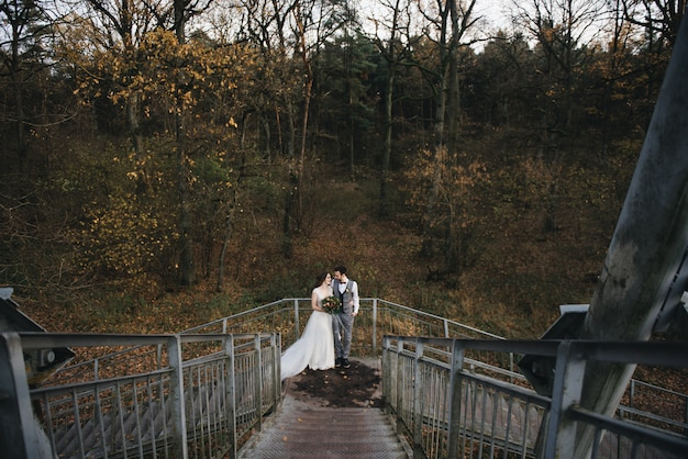 Happy young bride and groom standing on the stairs of the suspension bridge against the forest.  wedding photo