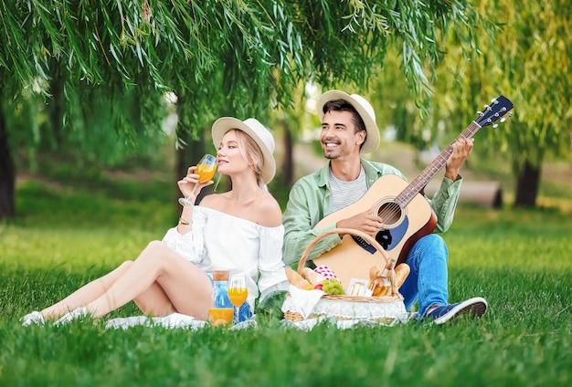 公園でピクニックに幸せな若いカップル