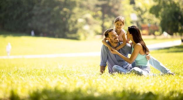 Счастливая молодая семья с милой маленькой дочерью, развлекающейся в парке в солнечный день