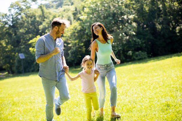 Счастливая молодая семья с милой маленькой дочерью, бегущей в парке в солнечный день