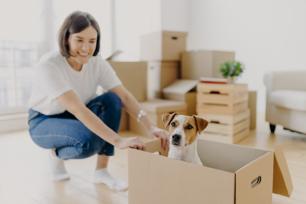 Happy young female house owner poses near cartboard box with favourite pet