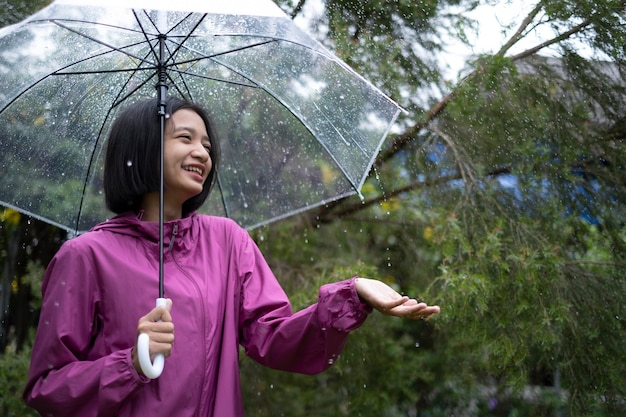 幸せな若い女の子は雨の中で傘とレインコートを着ています。