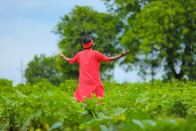 緑のナス畑に立っている幸せな若いインドの農民