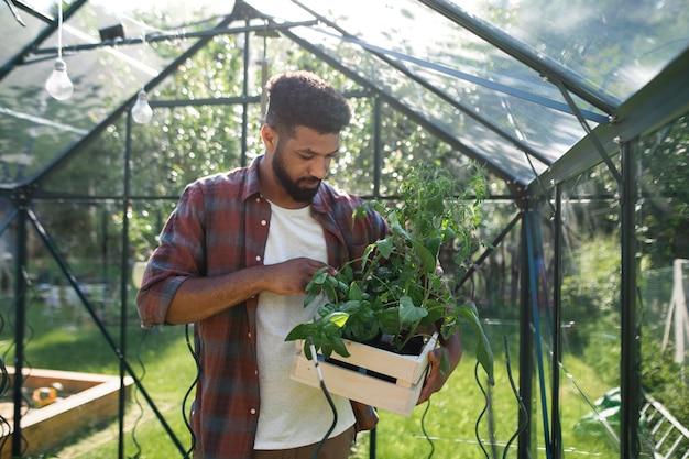 Счастливый молодой человек, работающий на открытом воздухе в концепции задний двор, садоводство и парник.