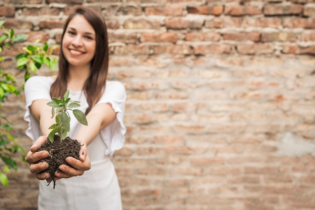 Happy young woman holding seedling
