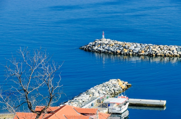 Harbor of the monastery of vatoped on mount athos
