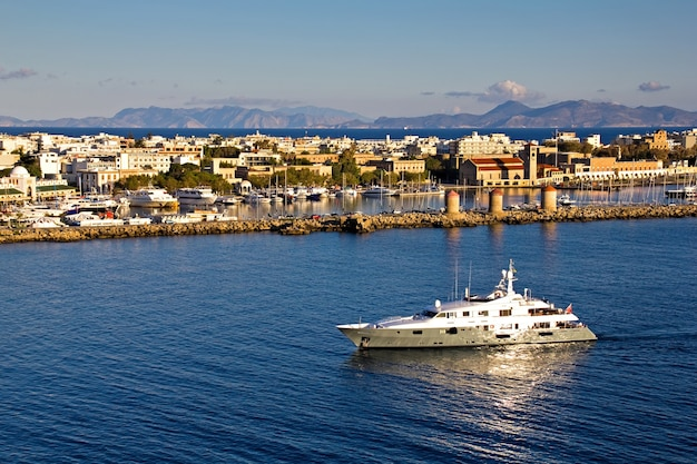 Harbor on rhodes island in greece with yachts