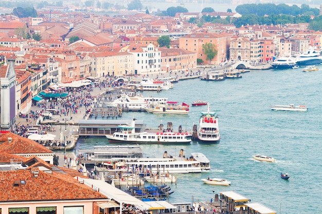 Harbour of venice old town from above, italy