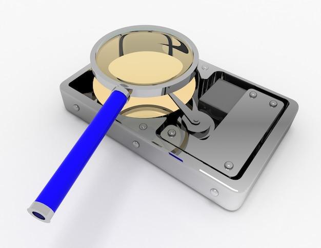 Жесткий диск и увеличительное стекло