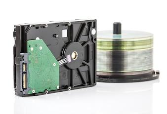ハードディスクドライブとDVDディスク
