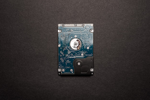 A hard disk drive isolated on black space background.
